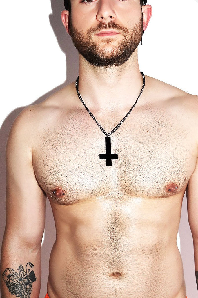 Unholy Inverted Cross Necklace- Black