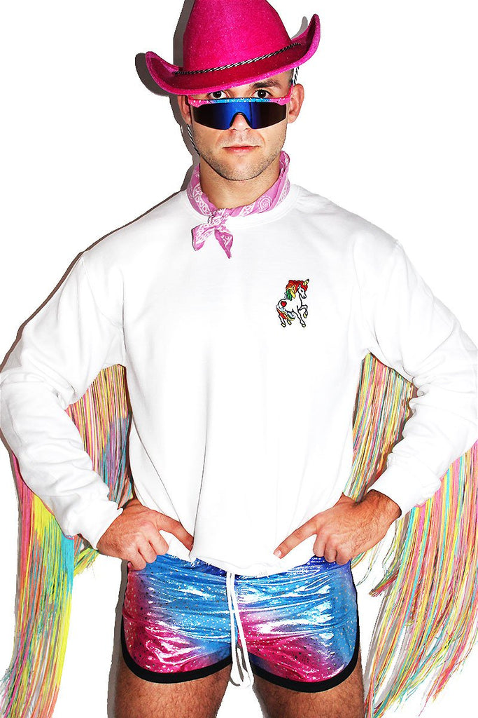 Unicorn Rainbow Fringe Sweatshirt- White