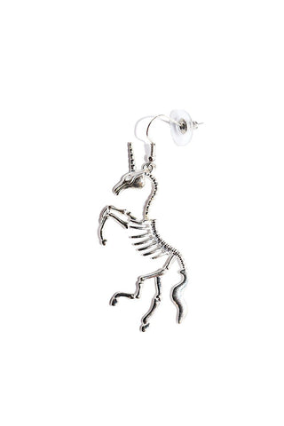 Unicorn Skeleton Single Earring-Silver