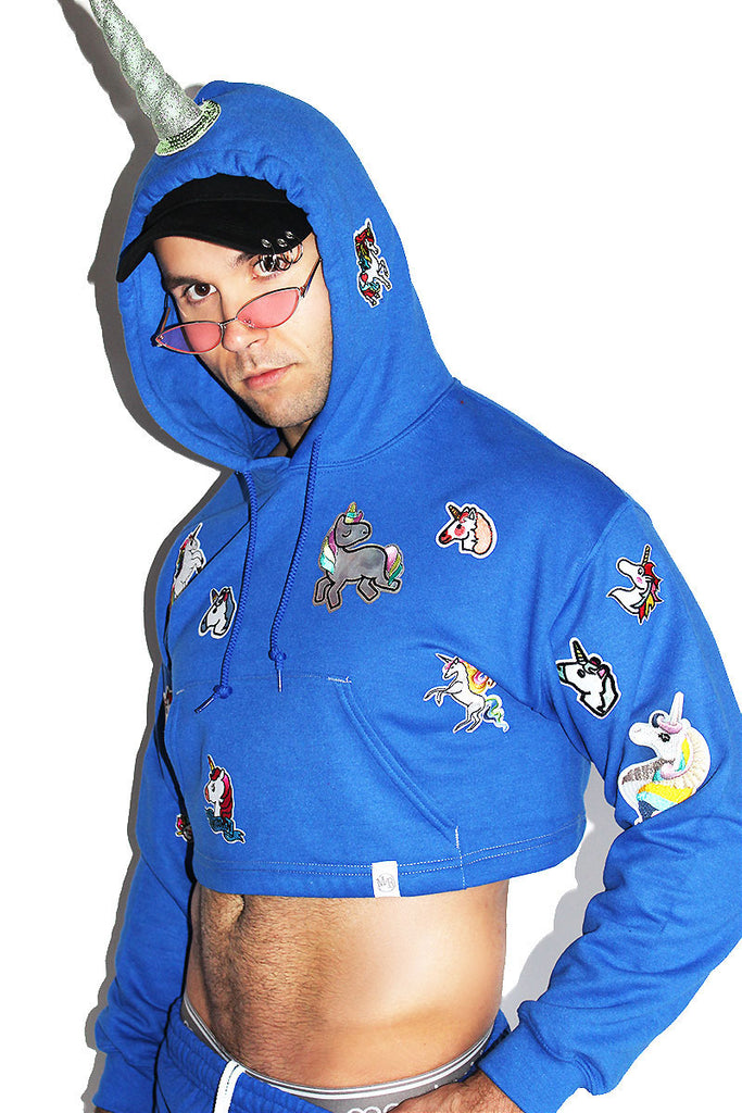 Unicorn Patches Crop Long Sleeve Hoodie-Blue