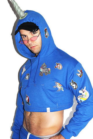Unicorn Patches Sweatpants - Blue