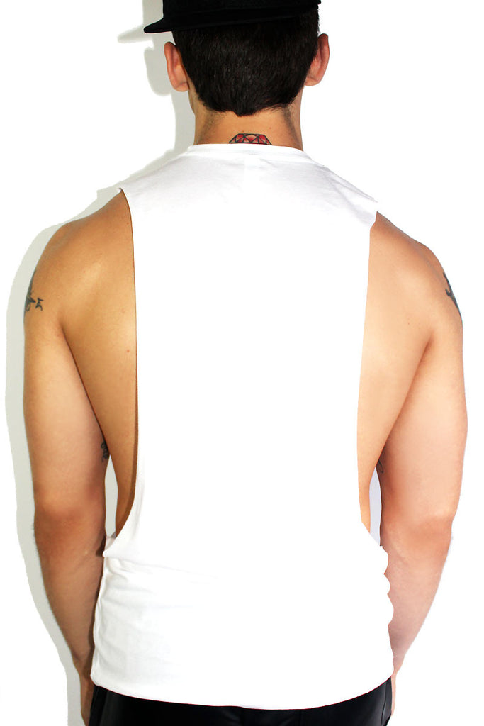 Vacation Dick Low Arm Tank-White
