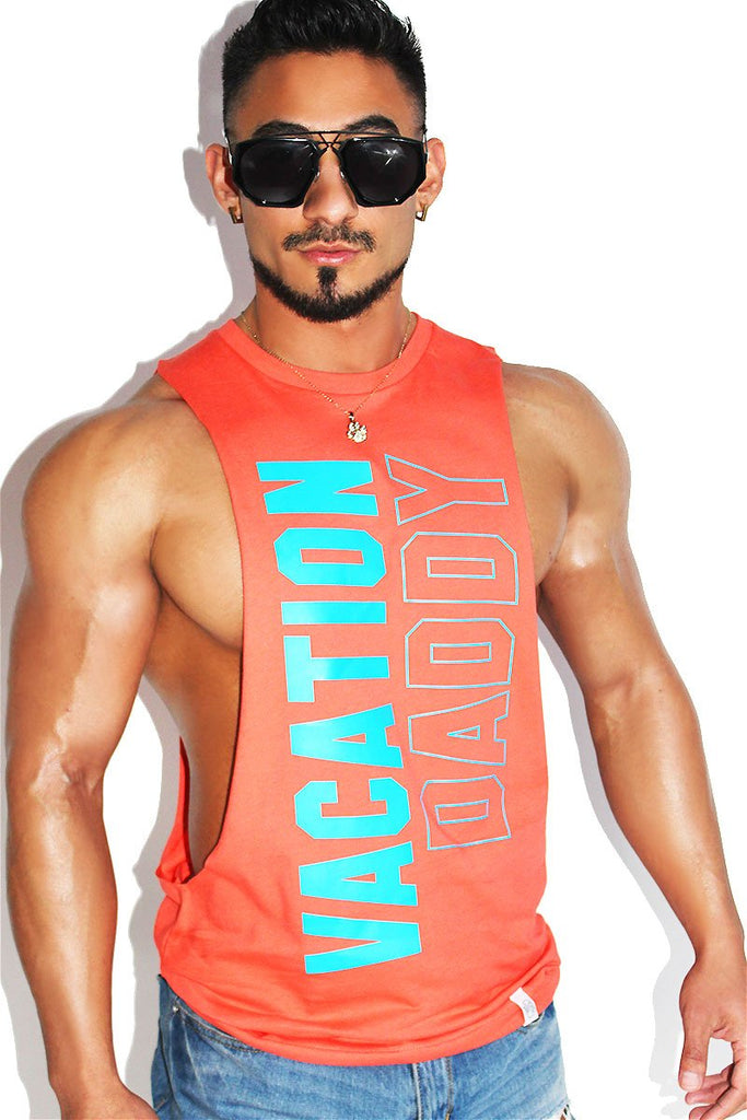 Vacation Daddy Low Arm Shredder Tank-Coral