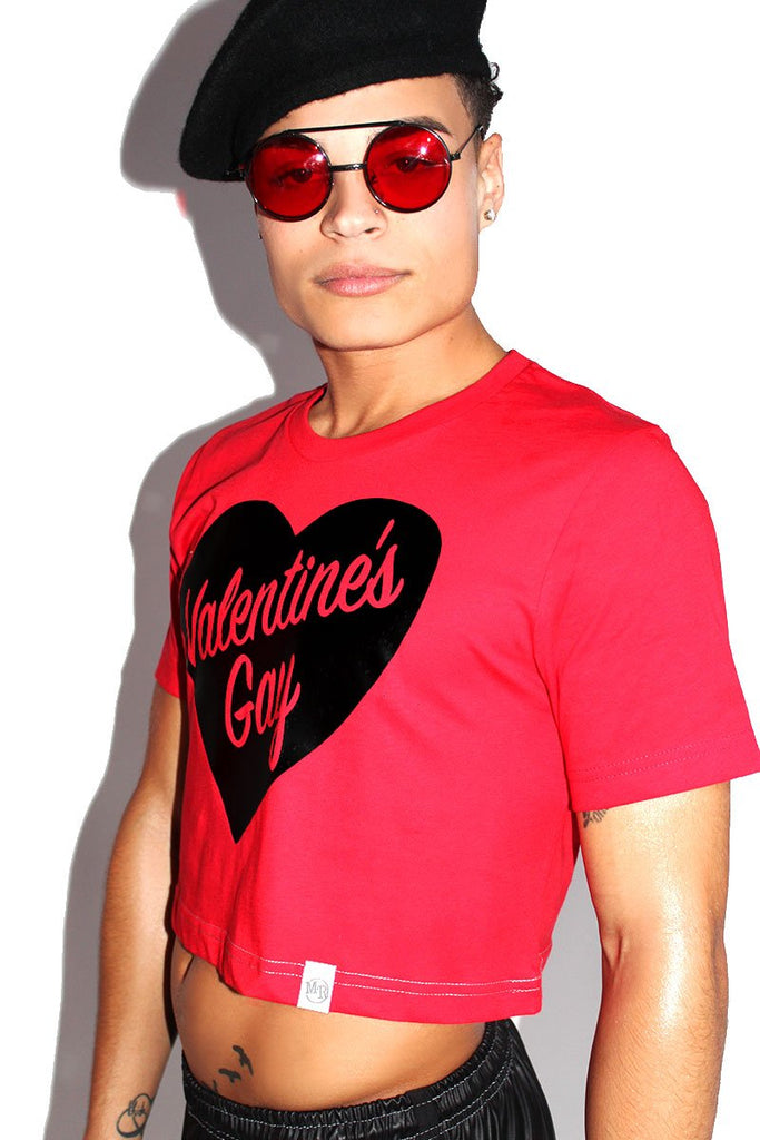 Valentines Gay Crop Tee-Red