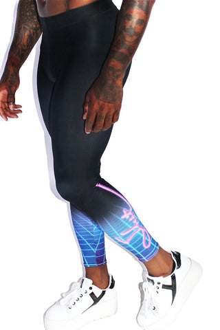 Vaporwave Slut Leggings Tights-Black