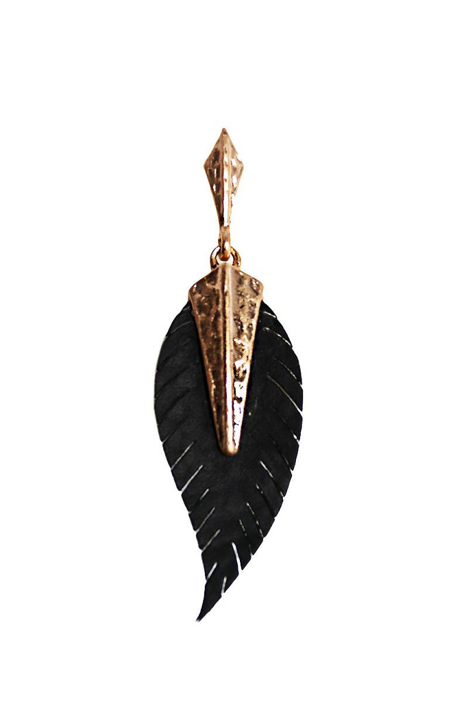 Vegan Leather Feather Single Earring-Gold