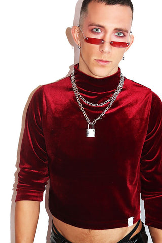 Velvet Crop Long Sleeve Mockneck Tee- Burgandy