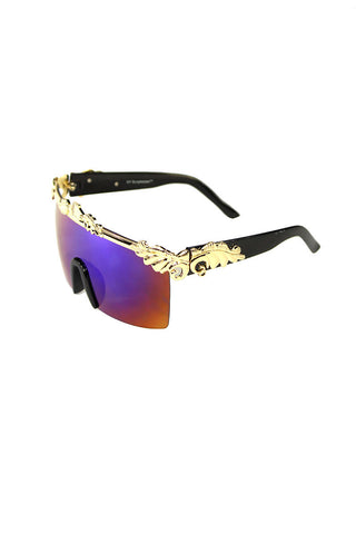 Oversized Gold Versailles Shield Sunglasses- Black