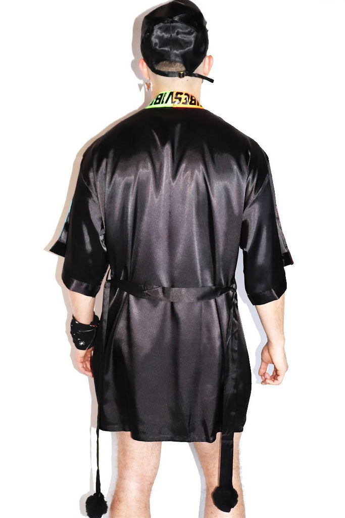 Electric Vibes Lounge Robe-Black