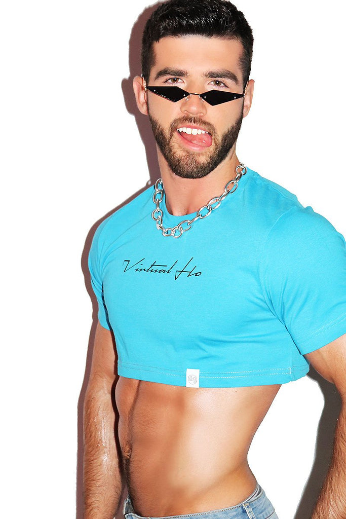 Virtual Hoe Extreme Crop Tee-Blue