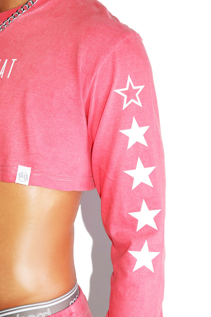 Very That Vintage Long Sleeve Extreme Crop Tee- Red