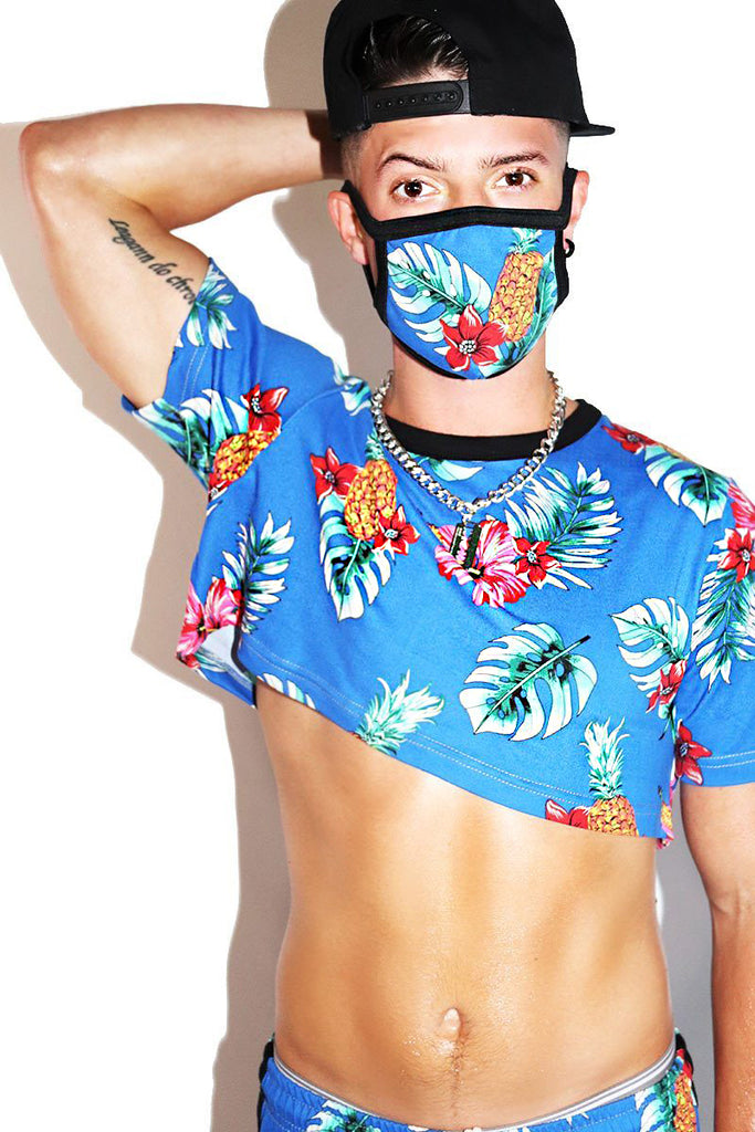 Hibiscus Extreme Crop Tee- Blue