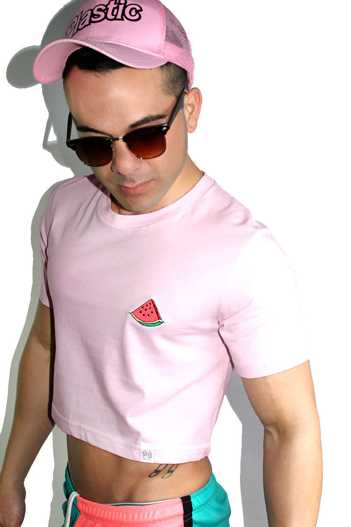Watermelon Patch Crop Tee-Pink