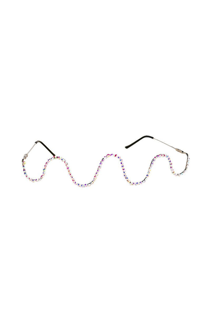 Squiggle Rhinestone Bridge Sunglasses-Holo