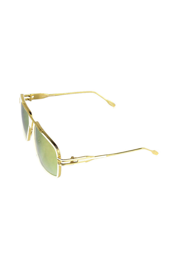 Golden Acrylic Frame Sunglasses-White