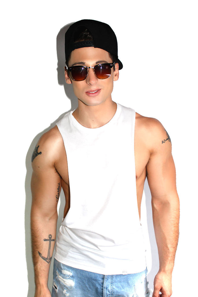 Core Low Armhole Tank-White