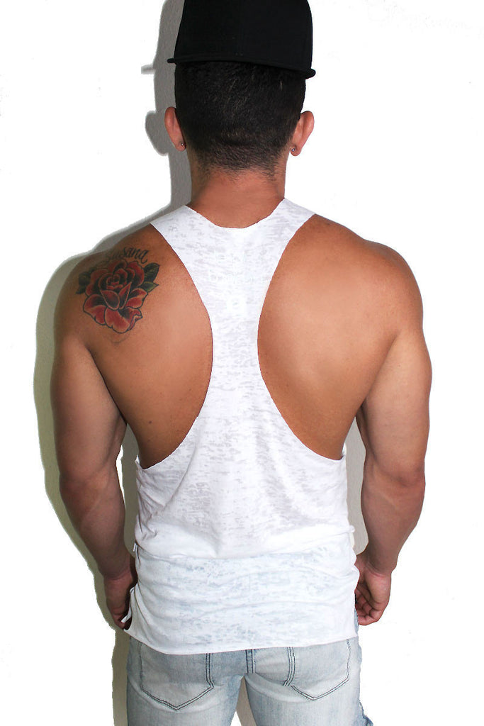Core String Tank Burnout-White