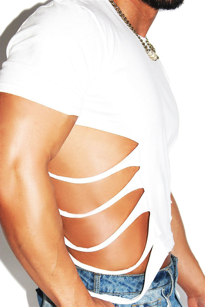 Shredded Oblique Crop Tee-White
