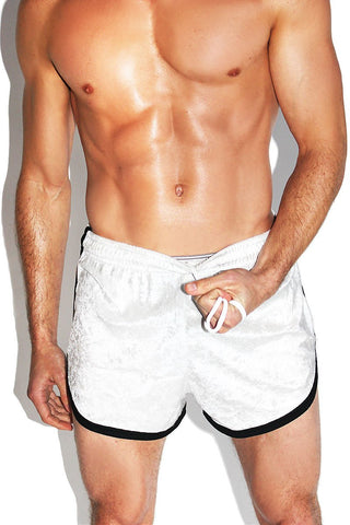 Crushed Velvet Running Shorts-White