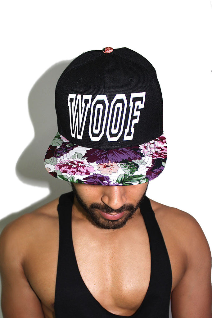 Woof Floral Snap Back Hat-Purple