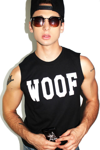 Woof Sleeveless Tee- Black