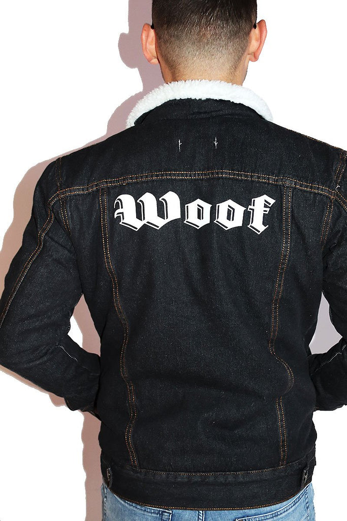 Woof Sherpa Denim Jacket- Dark Blue