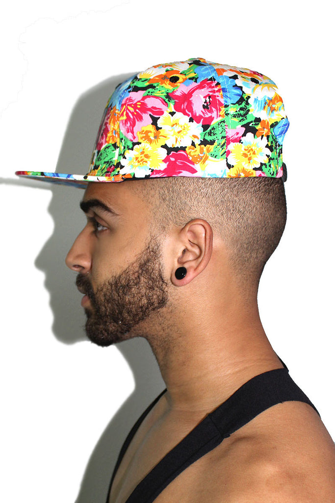 Yaaas! Floral Snap Back Hat-Orange