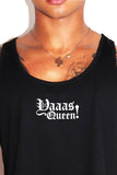 Yaaas Queen Crop Racerback Tank-Black