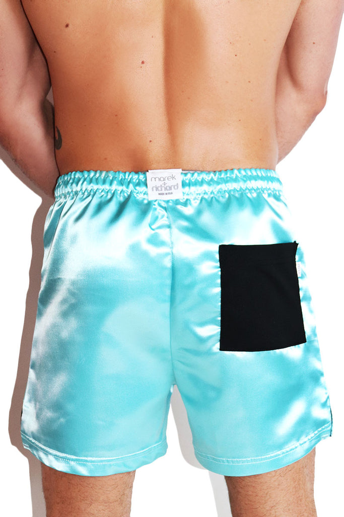 Yes Daddy Satin Athletic Shorts-Blue