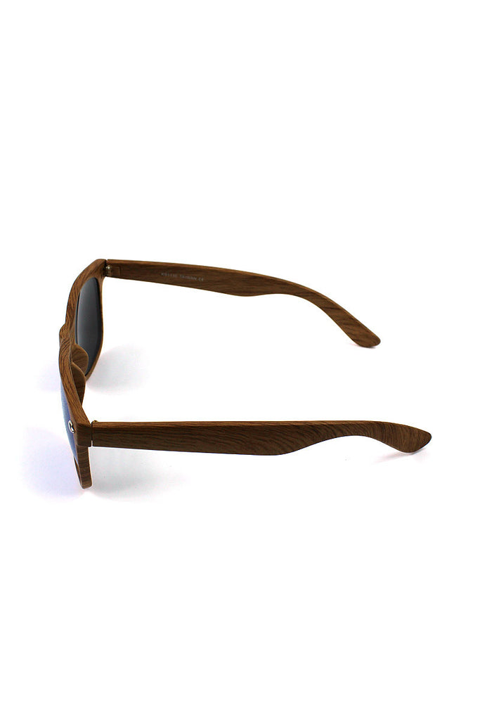 Wooden Wayfarer Reflective Sunglasses- Blue