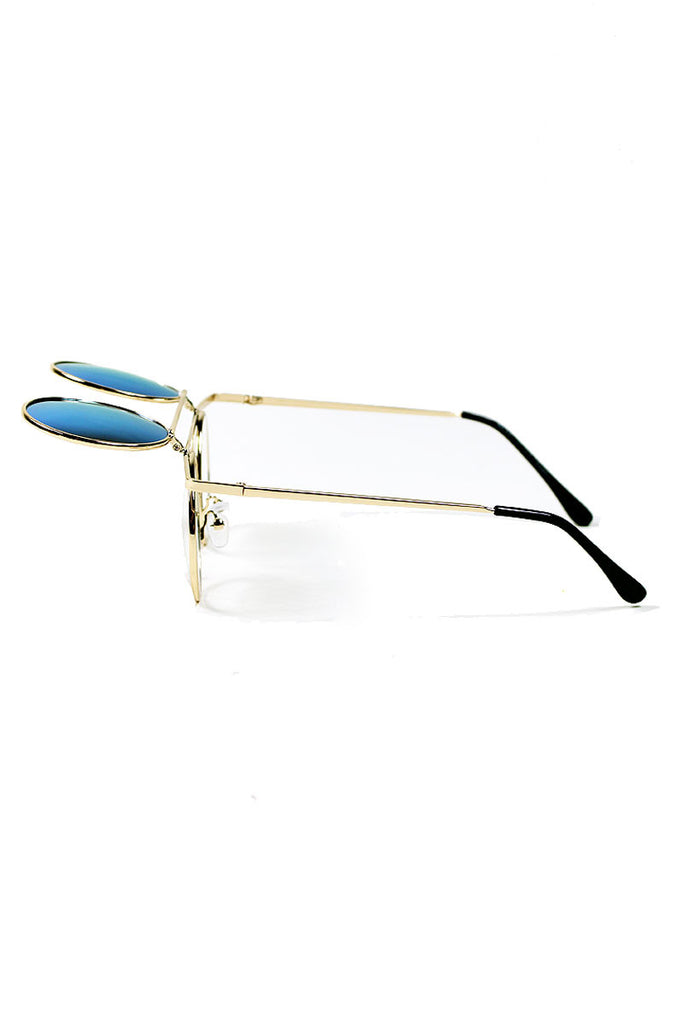 Boston Gold Rim Mirror Flip Up Sunglasses- Blue
