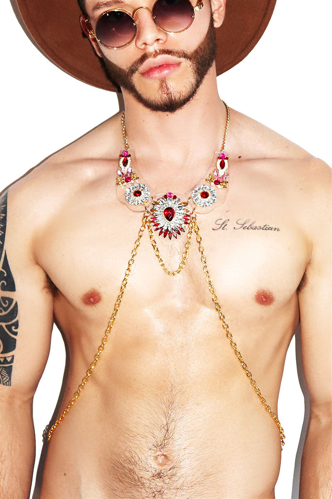 Floral Crystal Acrylic Harness - Red