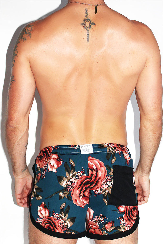 Floral Running Shorts-Navy