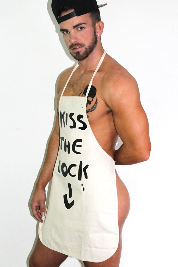 Kiss The Cock Apron- Cream