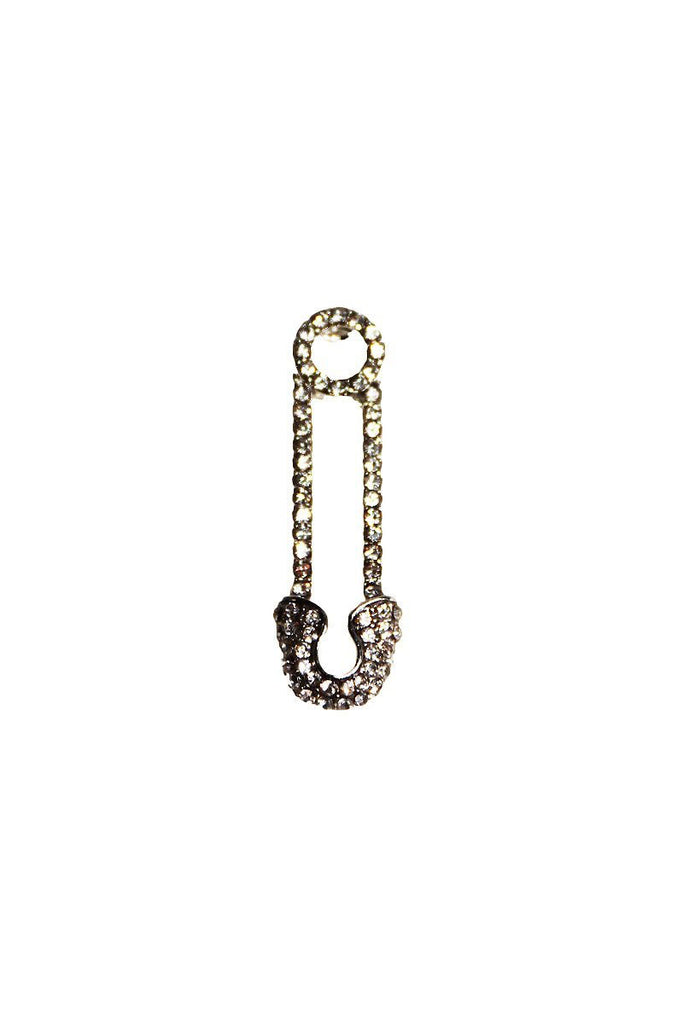 Rhinestone Safety Pin Single Earring-Silver