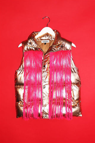 SAMPLE 194-Metallic Fringe Vest Gold-S