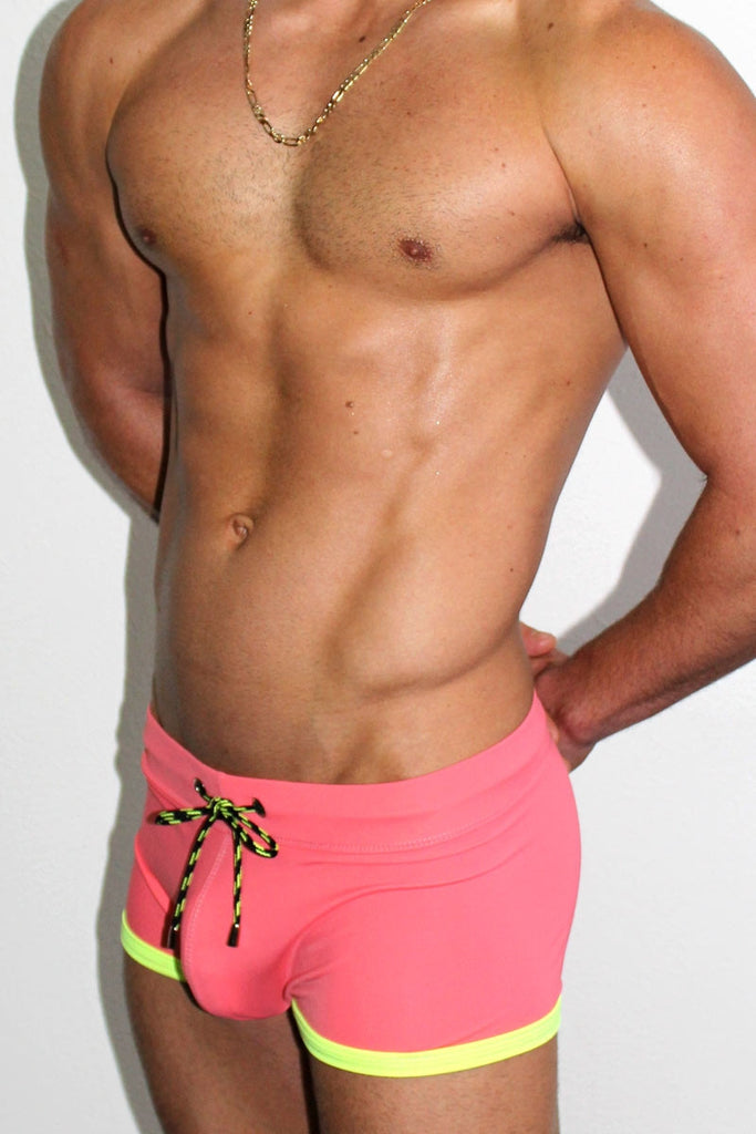 Soaked Solid Trunk Swimsuit- Coral