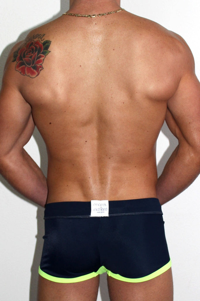 Soaked Solid Trunk Swimsuit- Navy