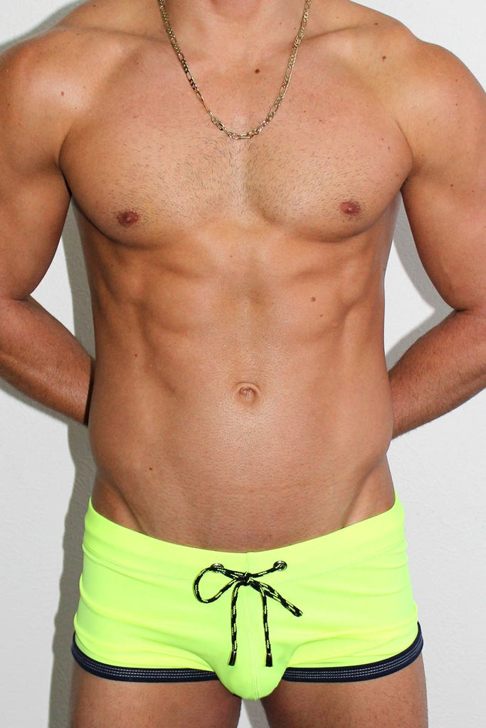 Soaked Solid Trunk Swimsuit- Yellow