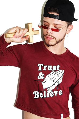 Trust and Believe Long Sleeve Crop Tee-Burgundy
