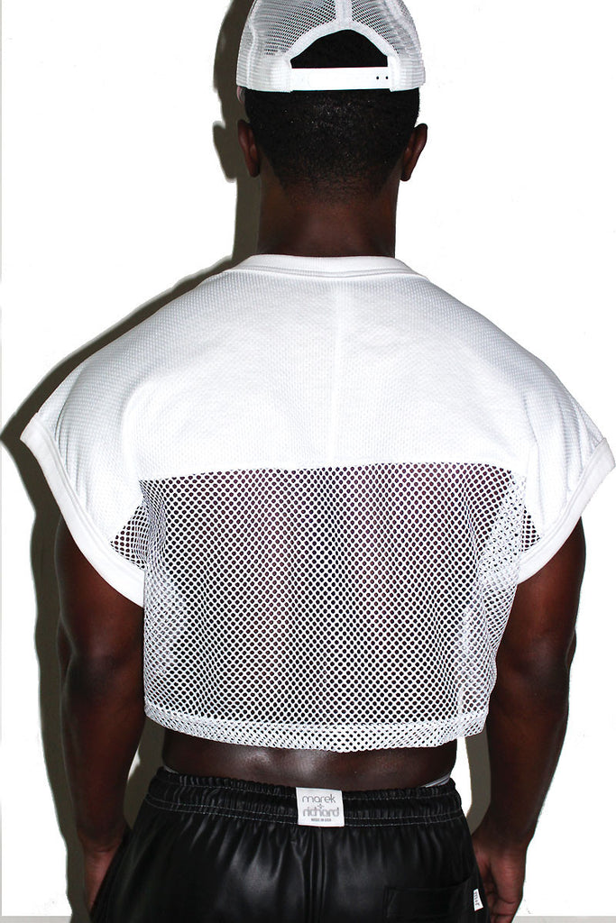 Athletic Mesh Crop Tee- White
