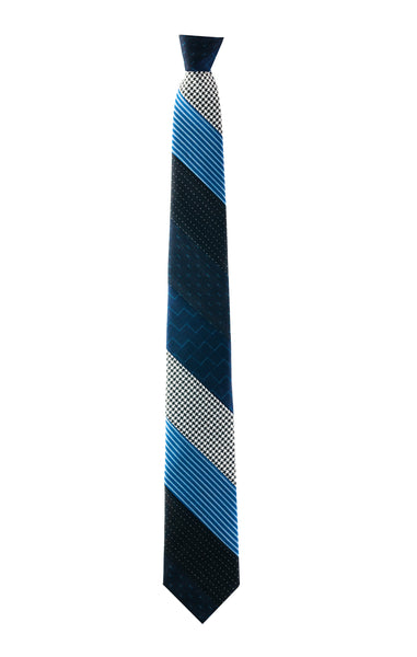 Margo Petitti striped wool patchwork tie made in the usa