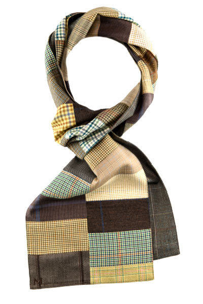 Brown - One of a Kind - Margo Petitti Patchwork,Scarves - scarf
