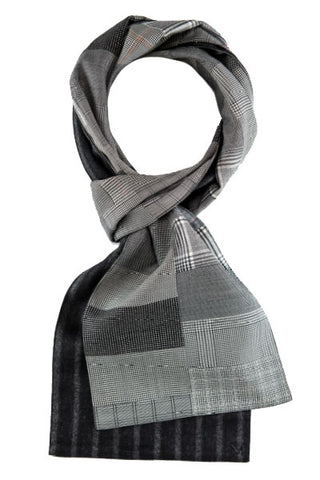 Gray - One of a Kind - Margo Petitti Patchwork,Scarves - scarf