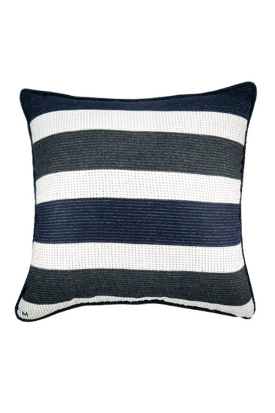 "Charcoal Navy Stripe 23"" x 23"" - Margo Petitti Pillows - scarf"