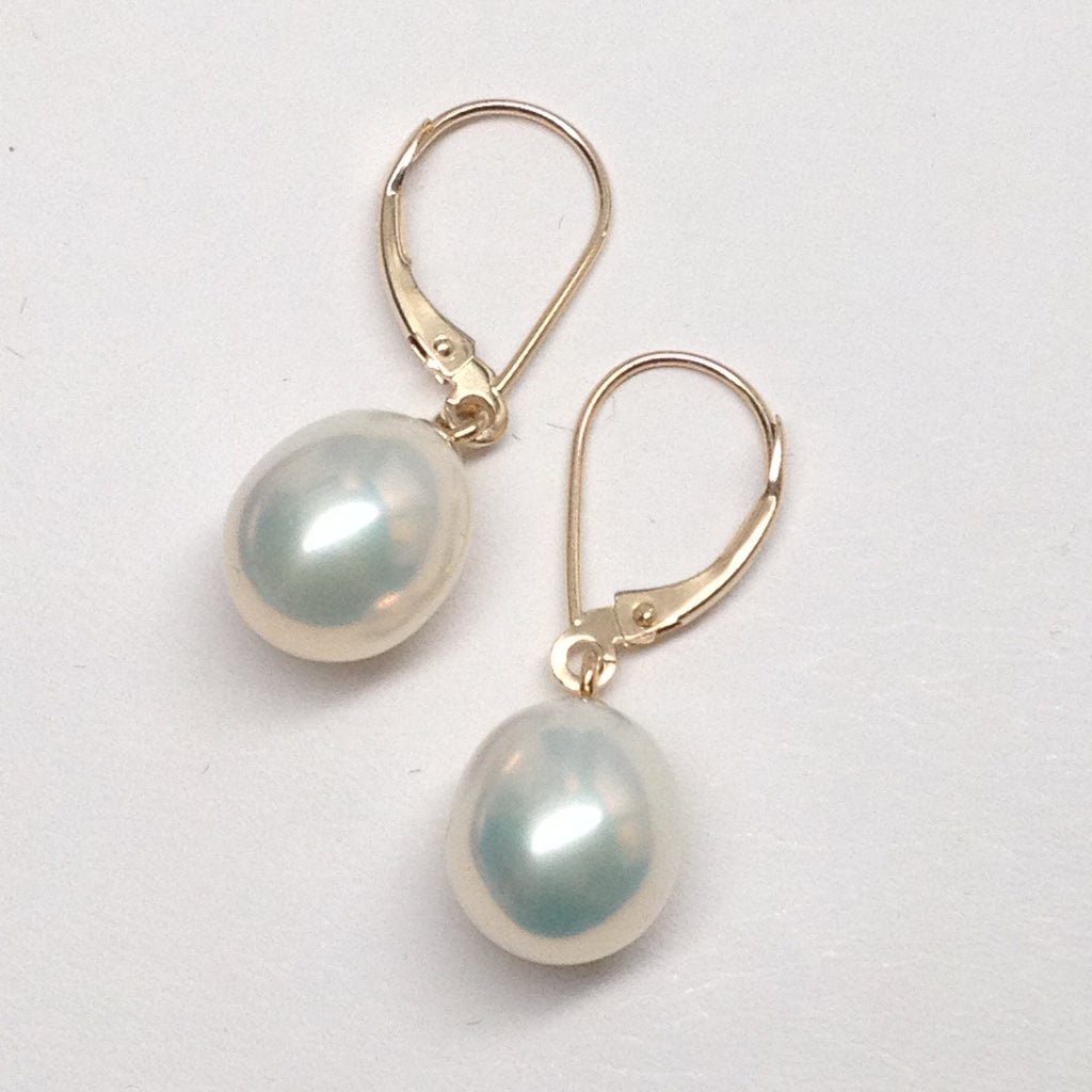 CULTURED FRESHWATER PEARL DROP EARRINGS 14k YELLOW GOLD