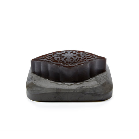 Grey Marble Plate with Amber Hand Soap