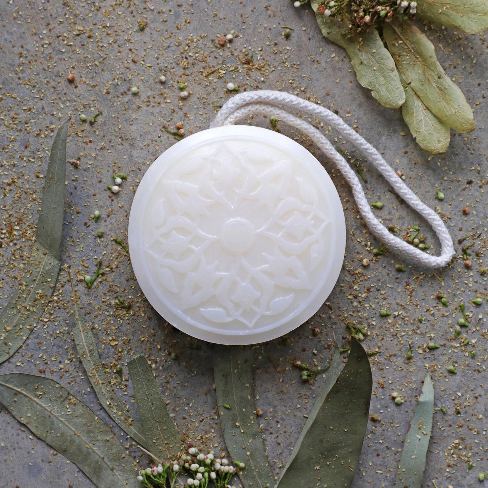 tea flower hammam soap on a rope
