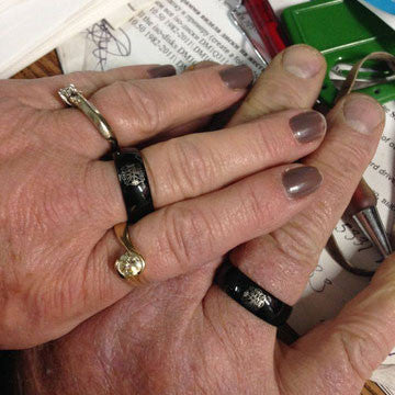 Black Tungsten Firefighter's Ring for 25th Wedding Anniversary