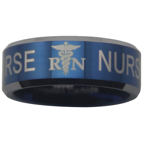 Blue Tungsten Registered Nurse Ring - Friends of Irony LLC